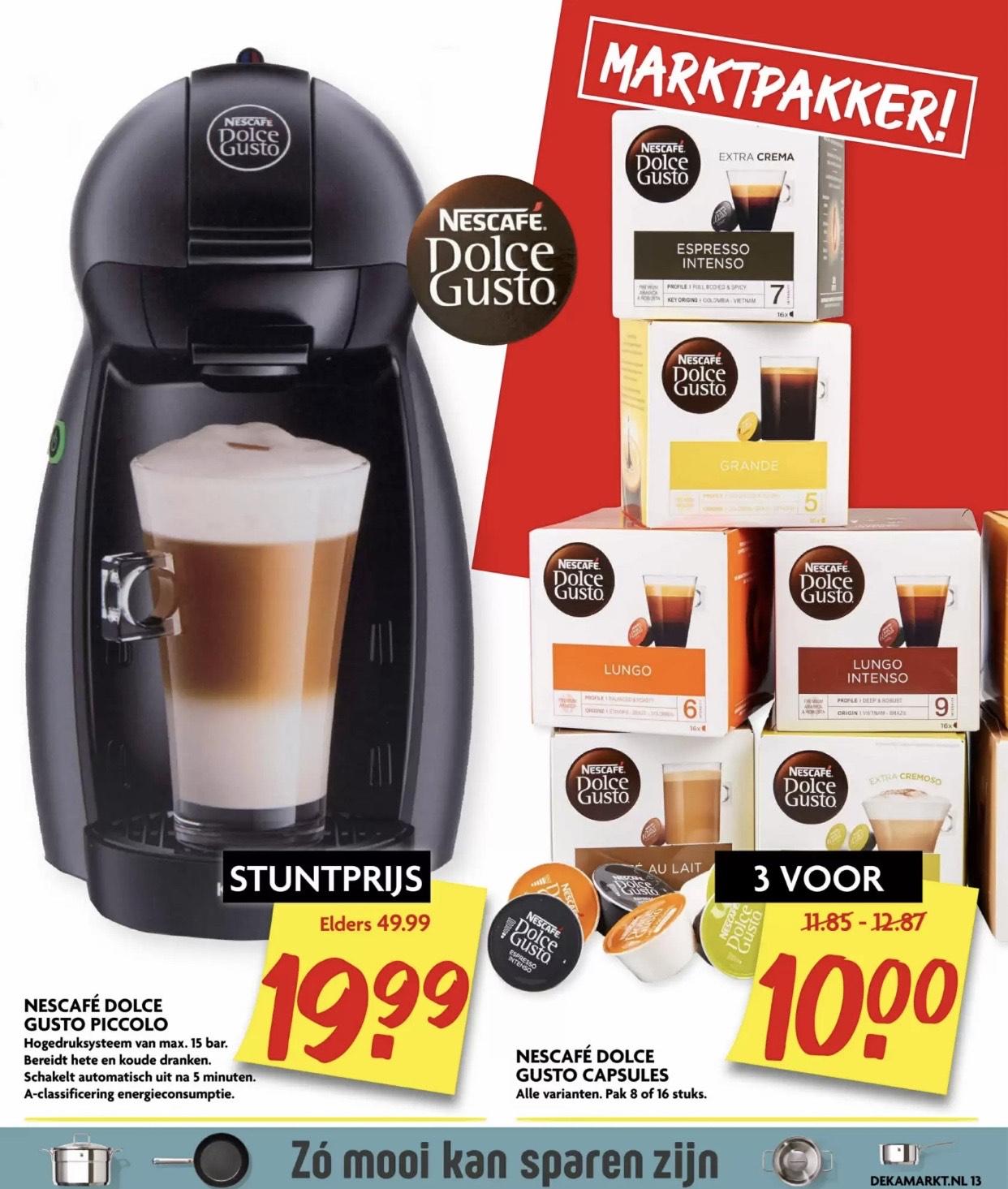 3 doosjes Dolce Gusto koffiecapsules voor €10 @Dekamarkt