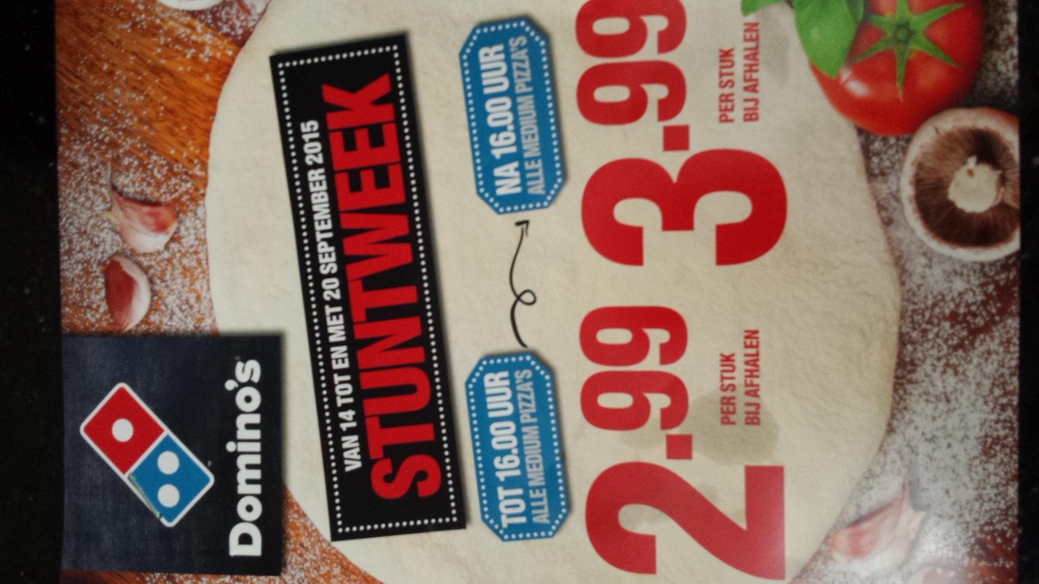 Stuntweek pizza's voor 2,99 bij domino's