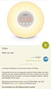 Philips wake-up light HF3500/01 voor €39,99 + 30 Eurosparen euro's