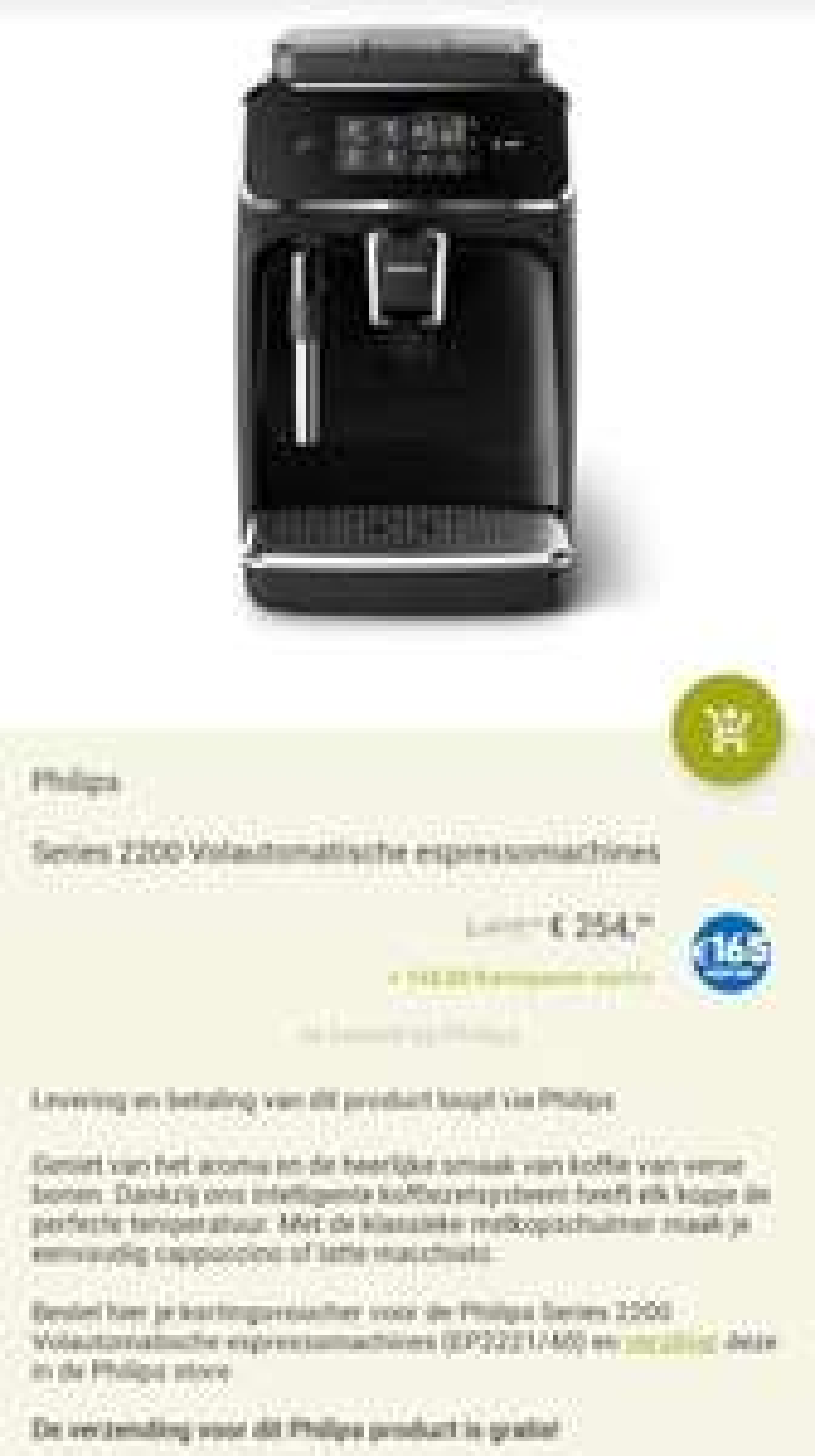 Philips Series EP2221/40 espressomachine €254,99 + 165 Eurosparen euro's