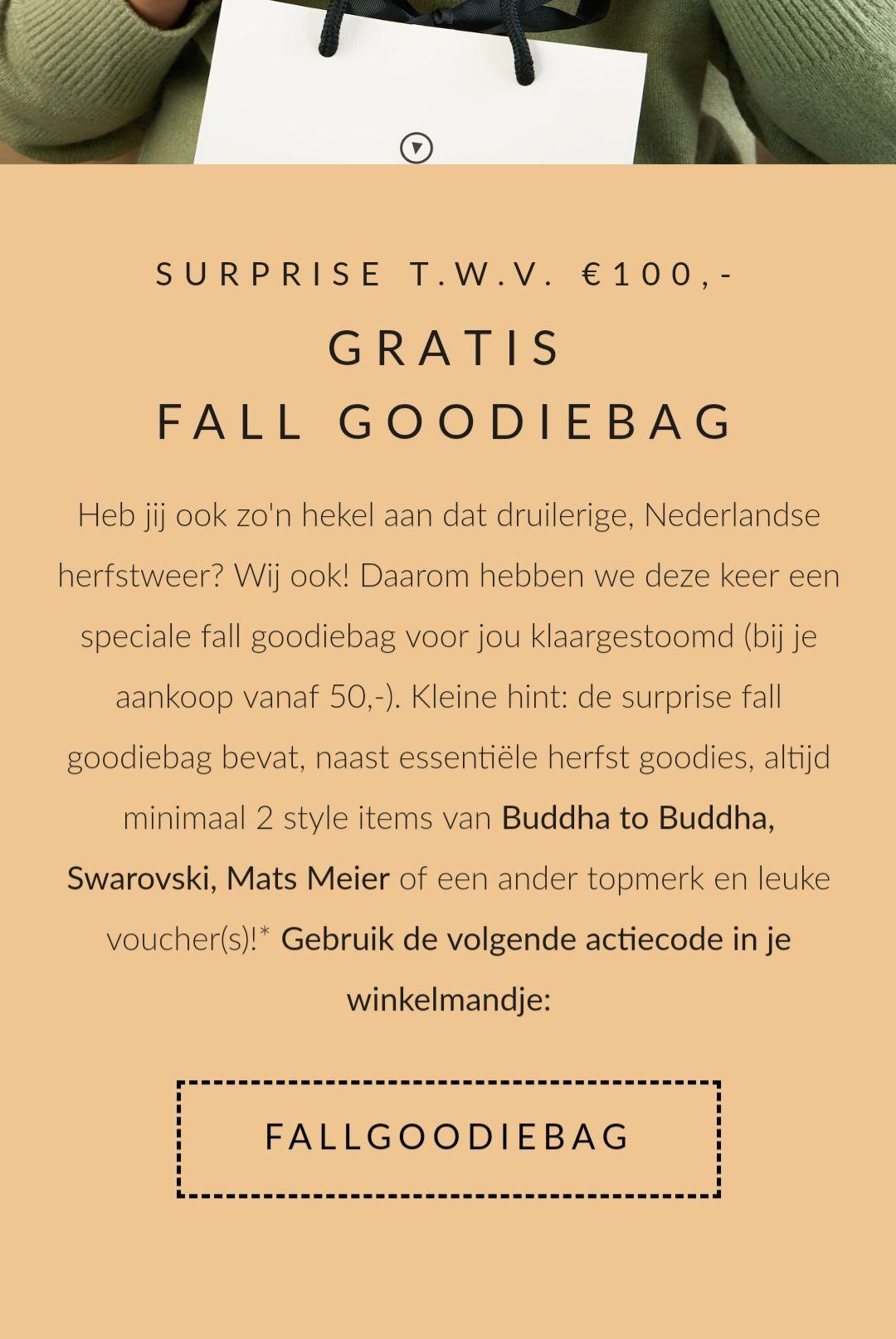 Een leuke goodiebag t.w.v. €100 bij bestelling vanaf €50 @ Brandfield