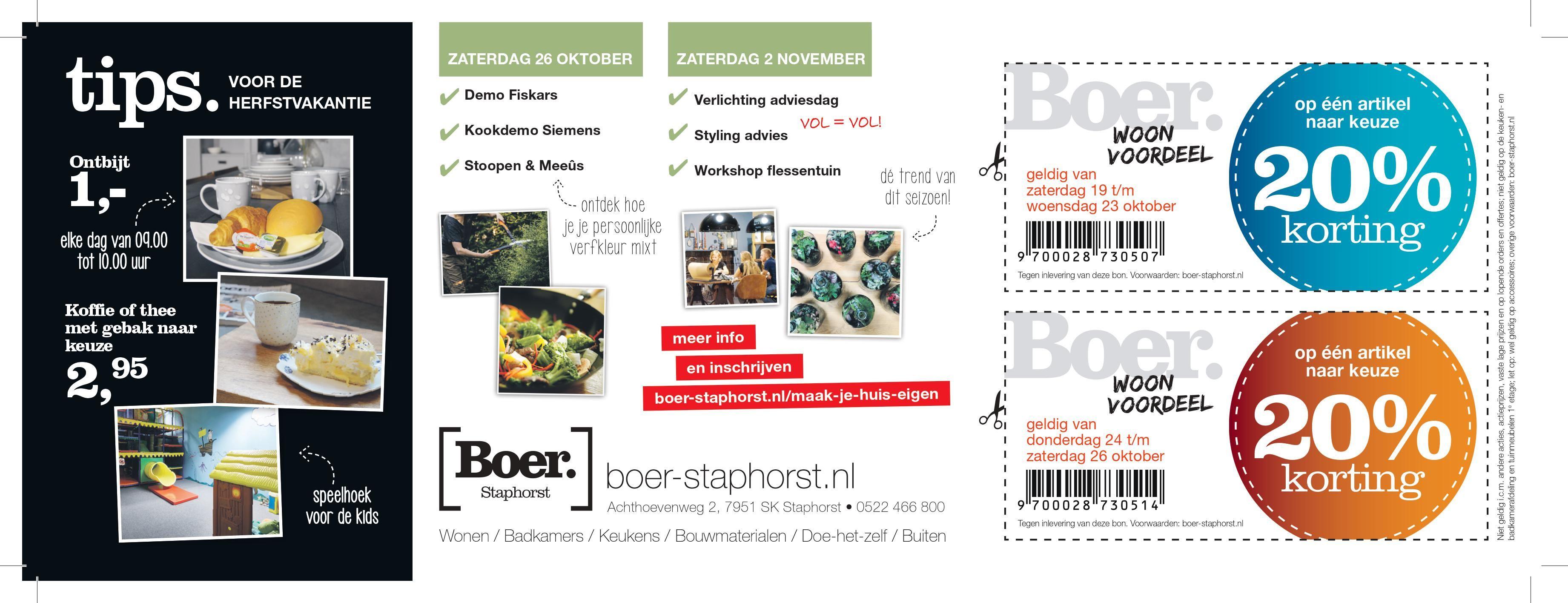 20% korting op een artikel naar keuze bij Boer staphorst