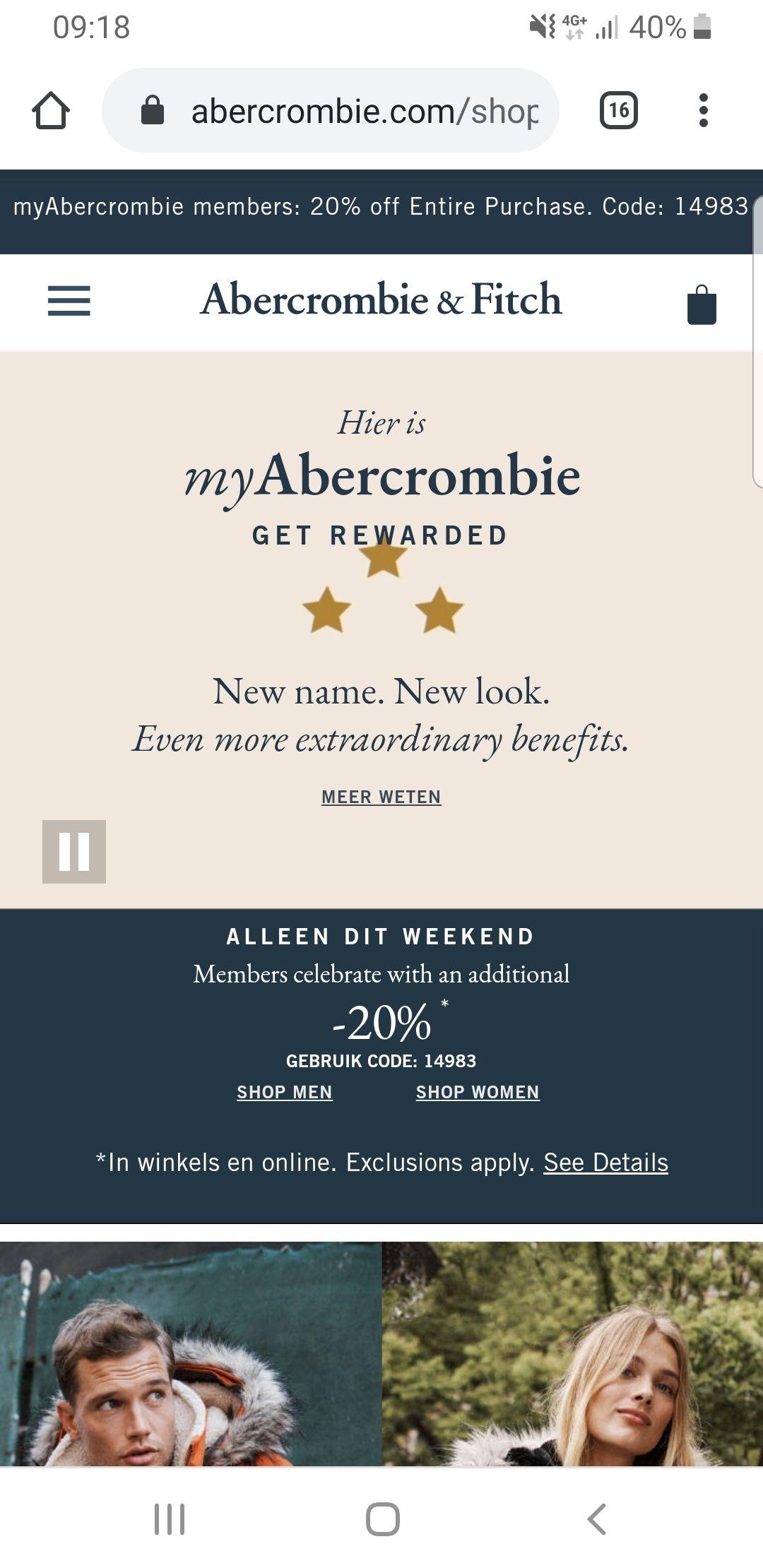 Alleen dit weekend 20 procent korting bij abercrombie voor members