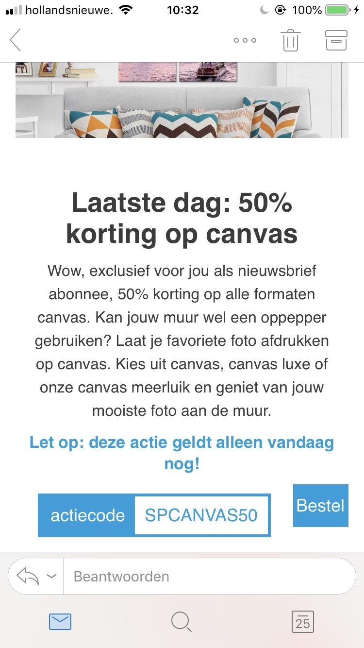 50% korting op foto op canvas Smartphoto.nl