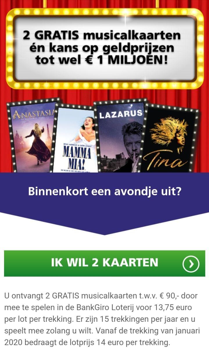 2 gratis musical kaartjes bij deelname BankGiroLoterij