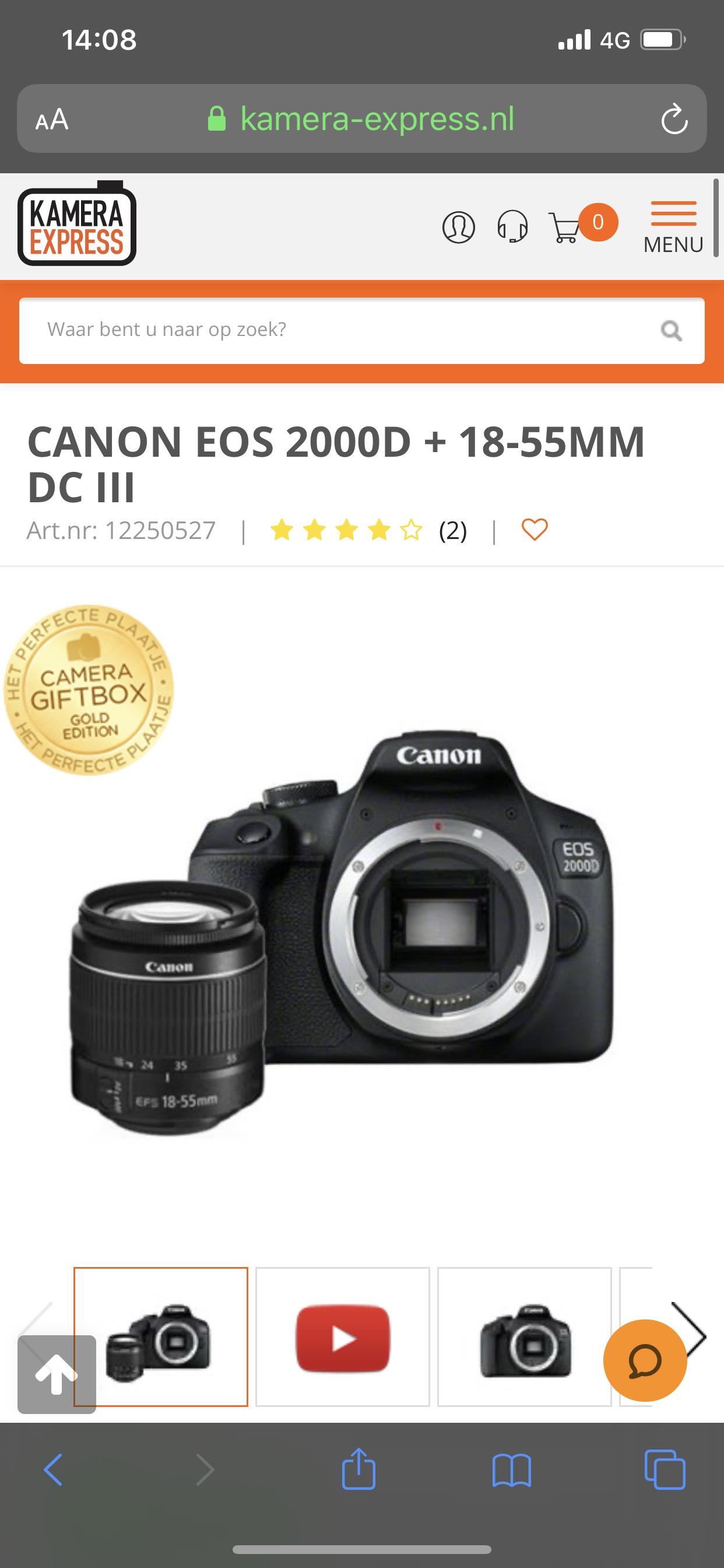 Canon EOS 2000D + 18-55mm en gratis Perfecte Plaatje Giftbox