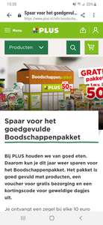 Spaar voor het goed gevulde boodschappenpakket bij de Plus supermarkt.