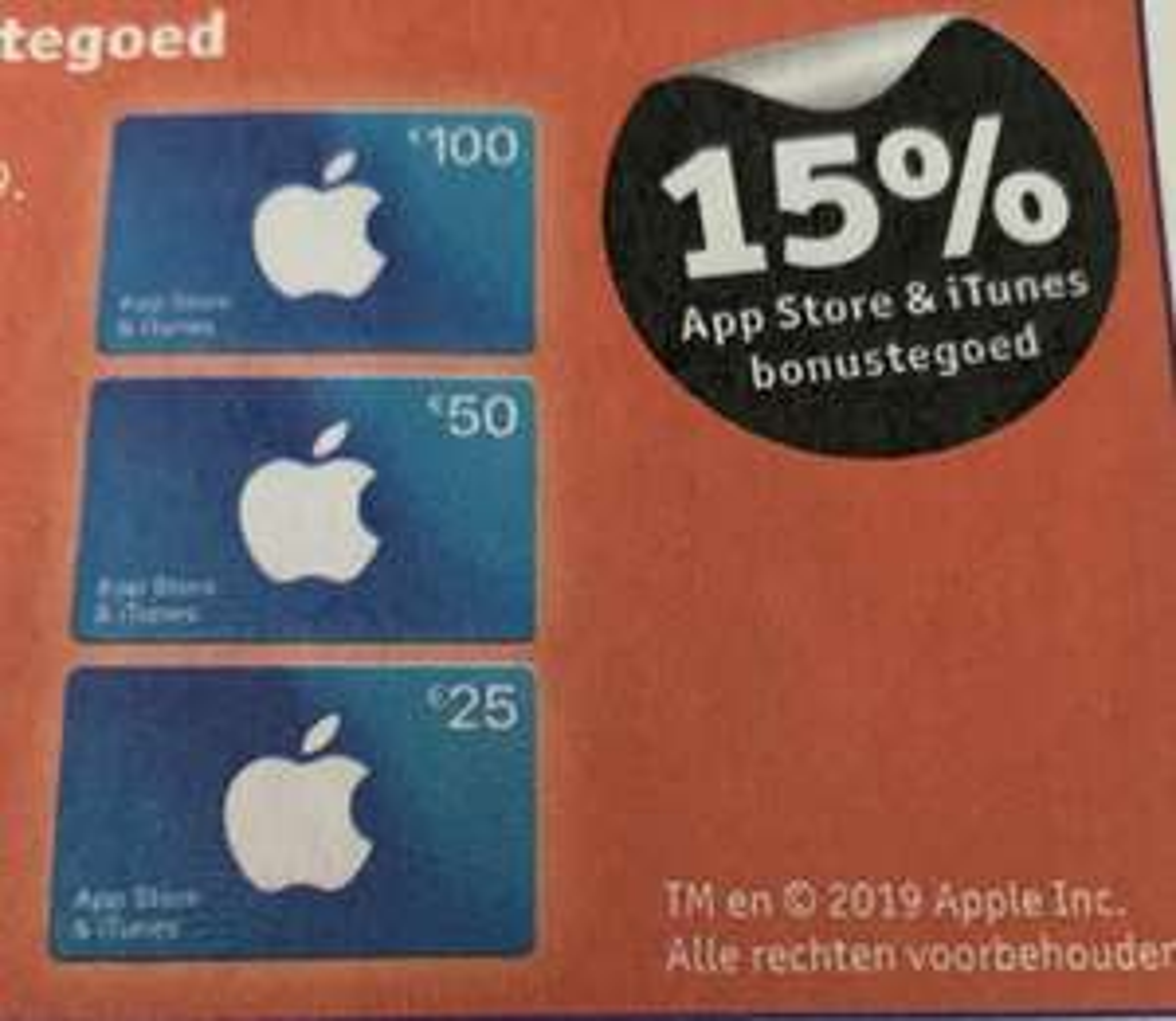 15% app store & iTunes bonustegoed