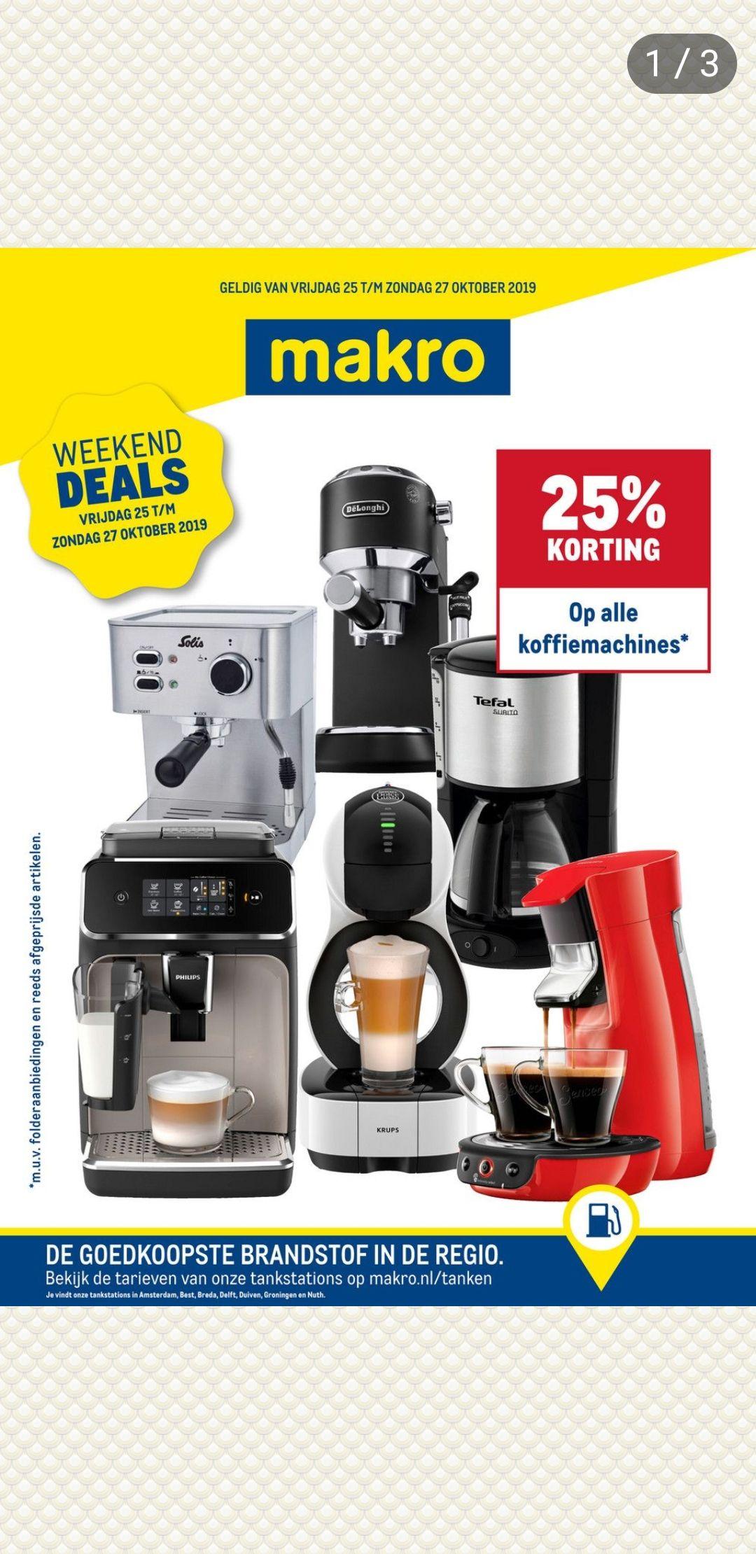 25% korting op alle koffiemachines bij makro