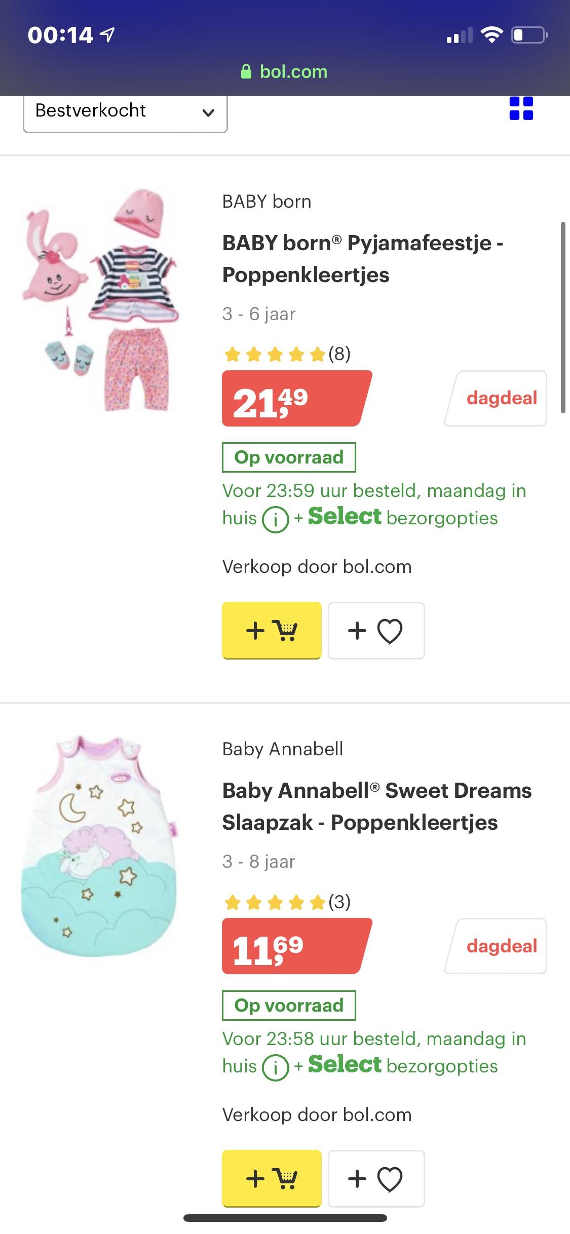 Dag deal bol.com 15% korting op Baby Born artikelen
