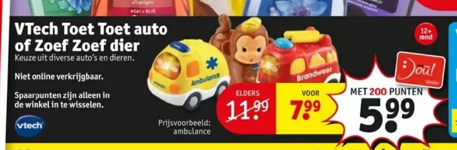 @Kruidvat. VTech toet toet auto of zoef zoef dier met 200 punten ambulance €5.99