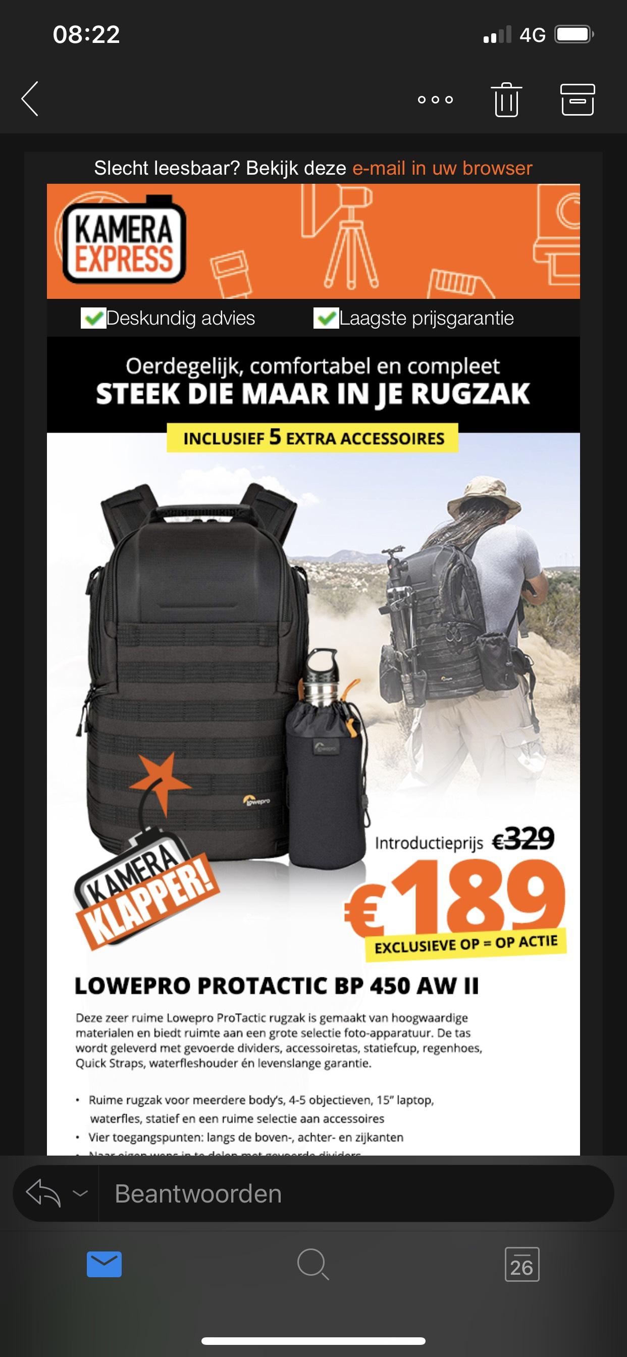 Lowepro Protactic 450 Aw II voor €189