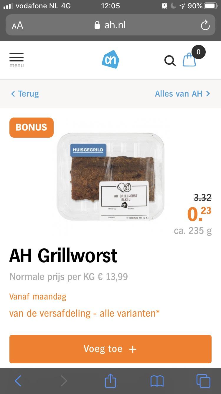 Grillworst AH voor maar 23 cent (prijsfout?)