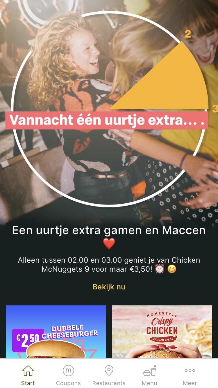 9 Chicken McNuggets voor €3,50 tussen 02.00 en 03.00