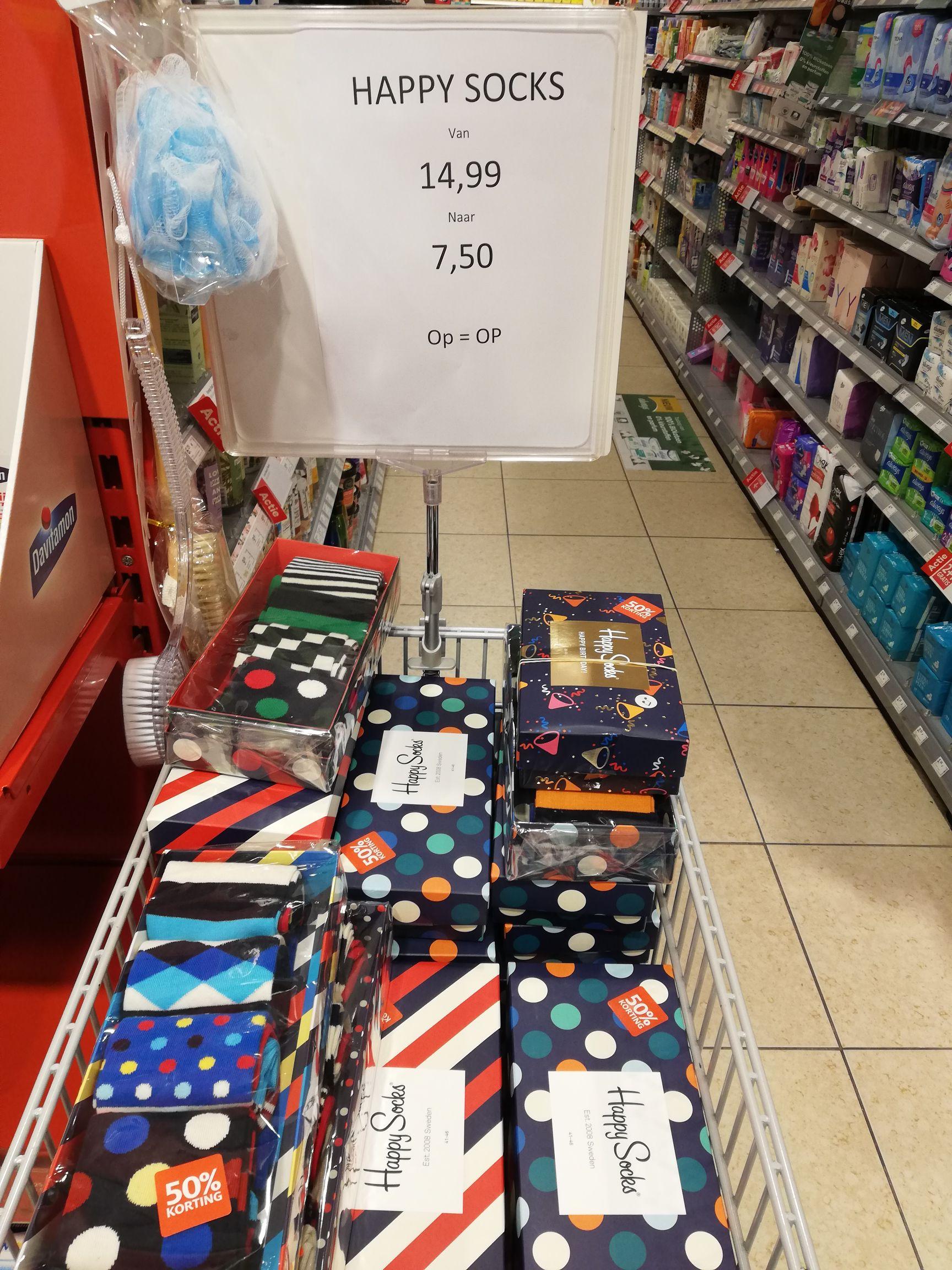 Happy socks 4 paar €7,50 Etos