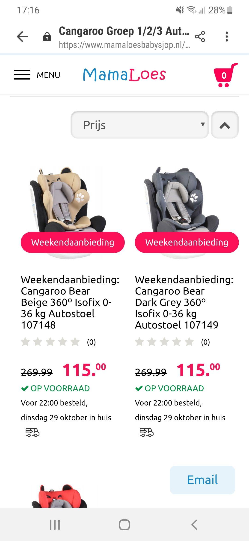 Cangaroo autostoel weekendaanbieding. Van €269.99 Voor €115