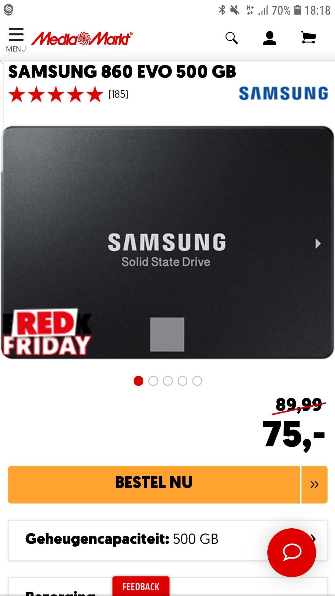 Samsung interne SSD 500 GB voor 75 euro