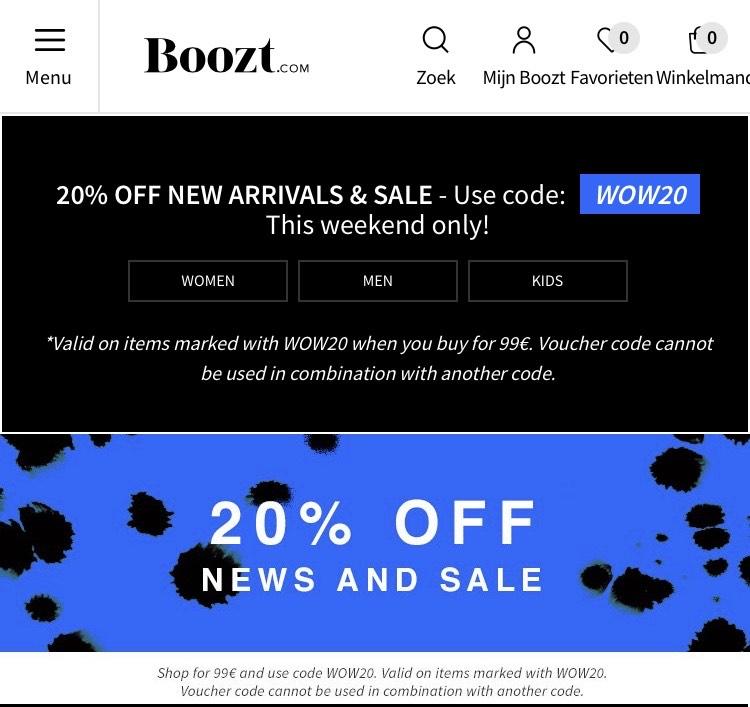 BOOZT.COM 20% korting op bijna alles!