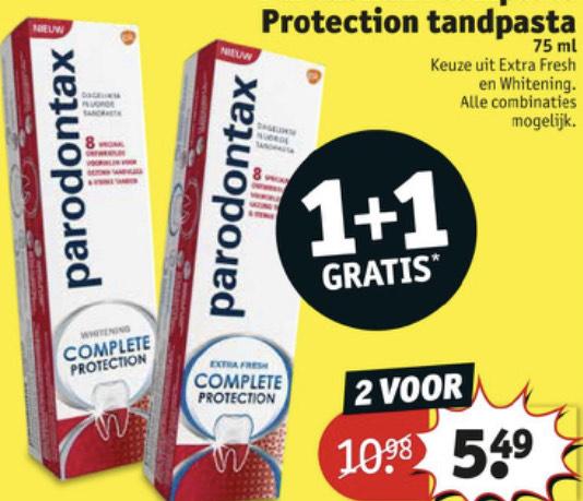 Parodontax 1+1 gratis nu €2.75 per stuk @kruidvat