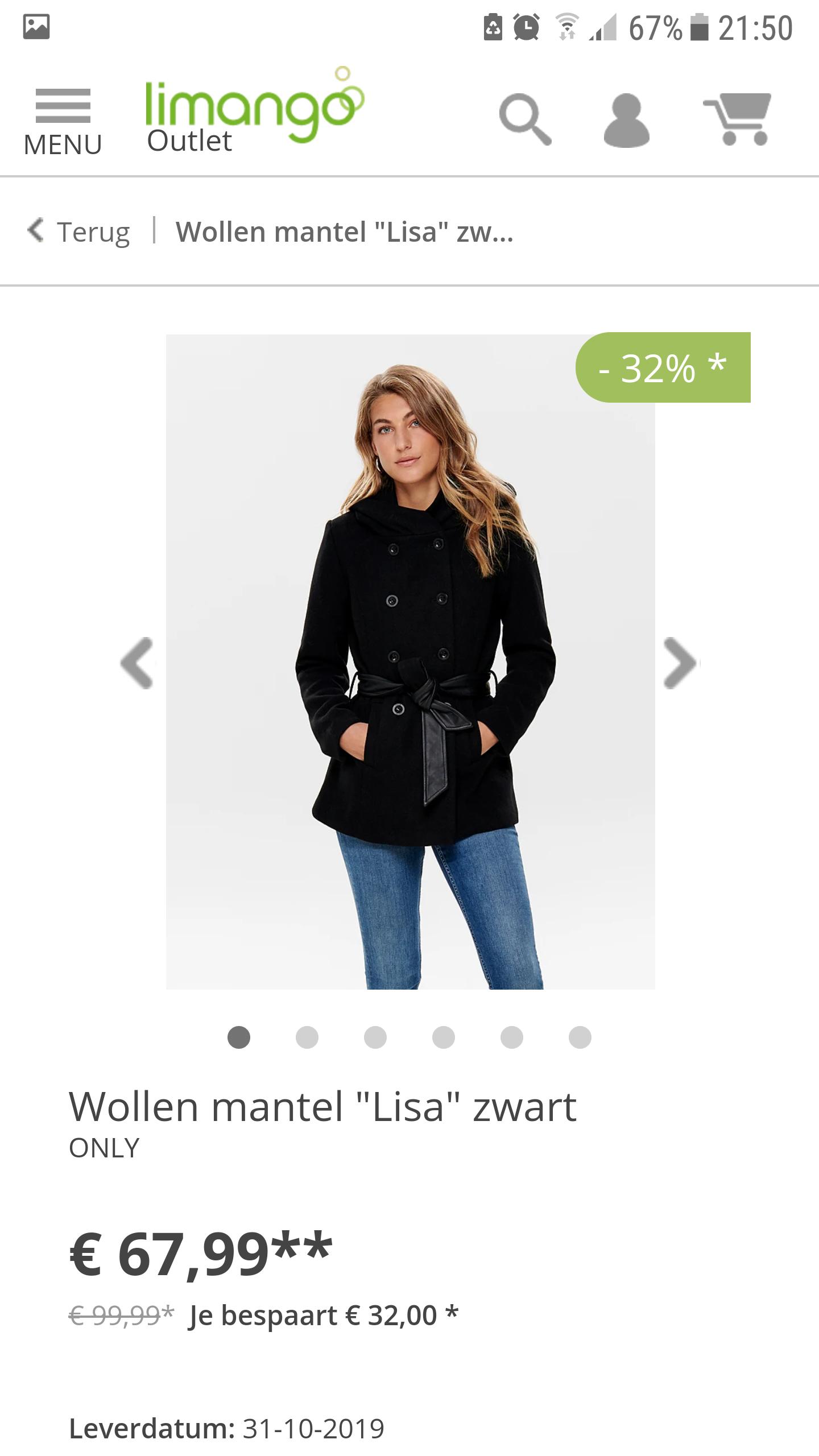 """Only Wollen mantel """"Lisa"""" zwart"""