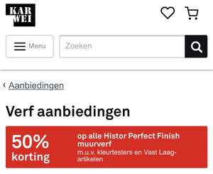 50% korting op alle Histor perfect finish muurverf