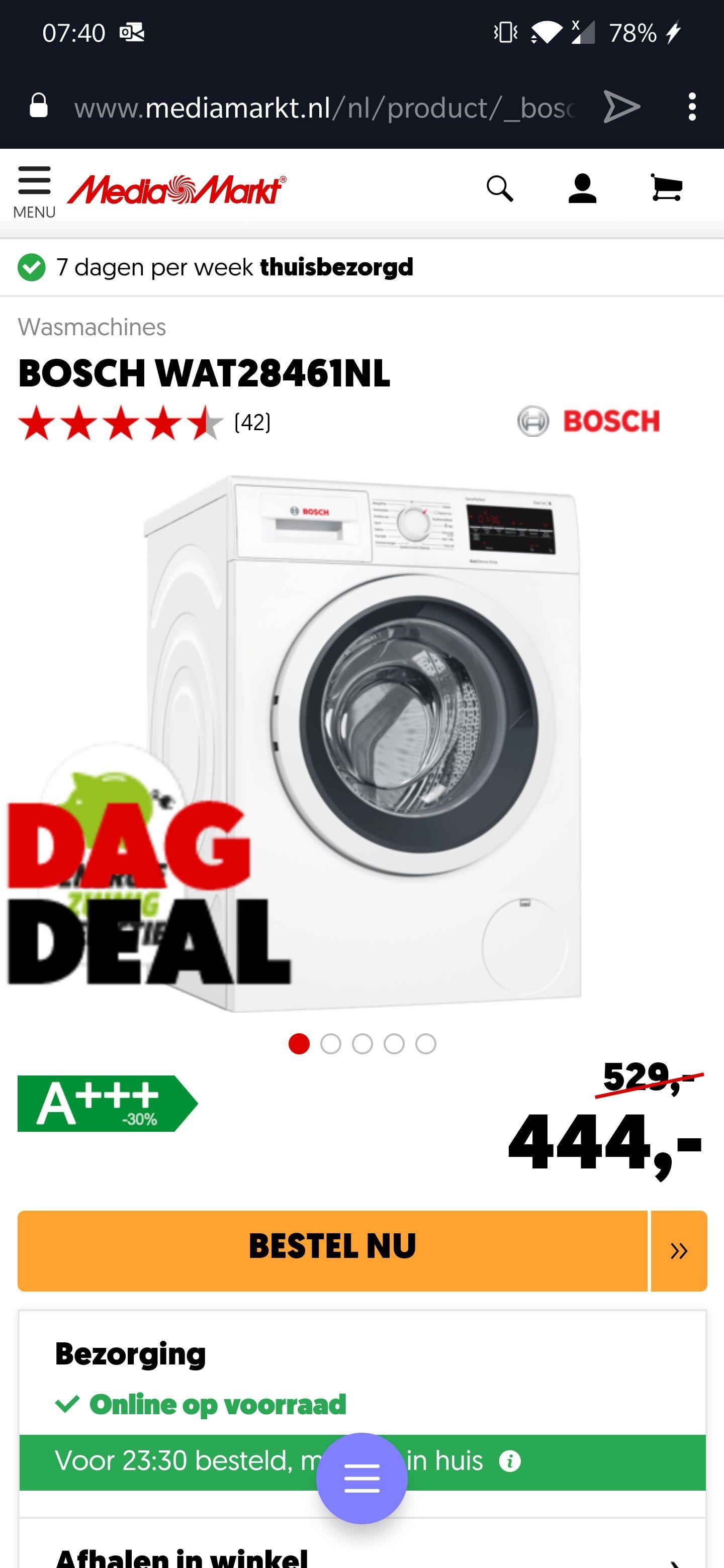Bosch WAT28461NL €444