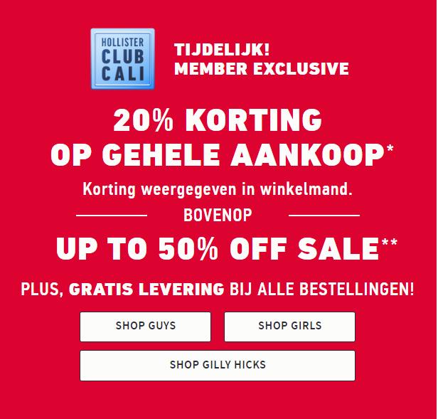 Hollister: 20% korting op volledige aankoop (bovenop sale tot 50%!) Gratis verzending!