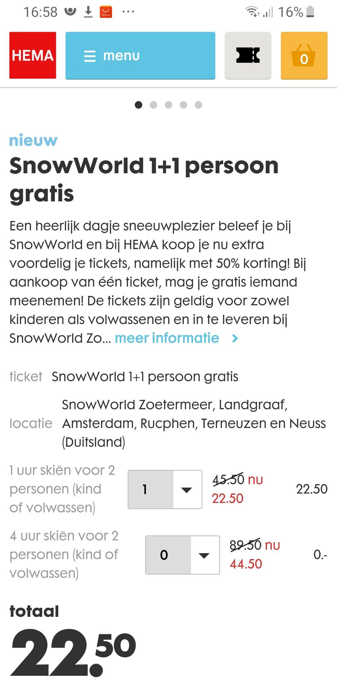 2e kaartje gratis bij SnowWorld