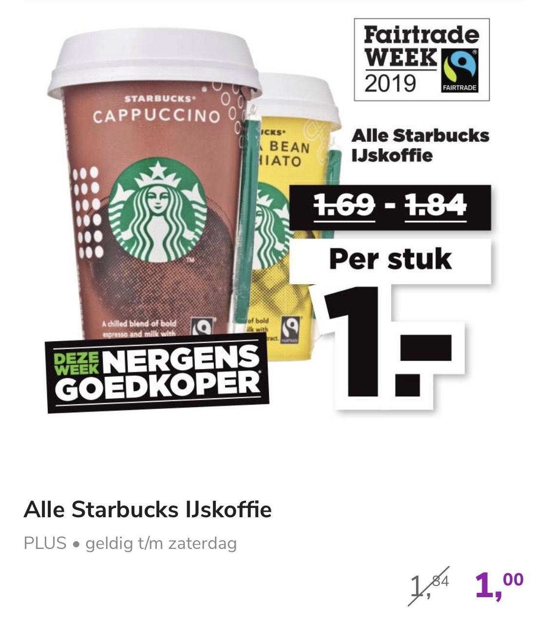 Alle Starbucks ijskoffie voor 1 euro.