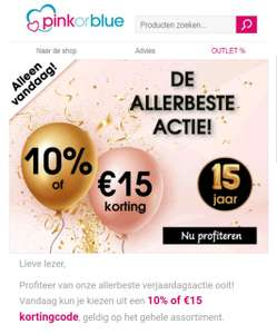 Pinkorblue 10% of 15euro korting