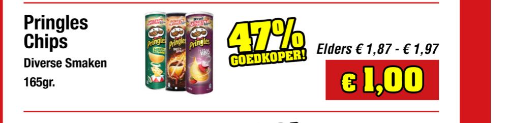 Grote bussen Pringles €1 bij Budgetfood