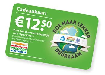 Gratis AH Doe maar lekker duurzaam cadeaukaart twv. 12.50 voor Nationale Postcode Loterij klanten @ AH