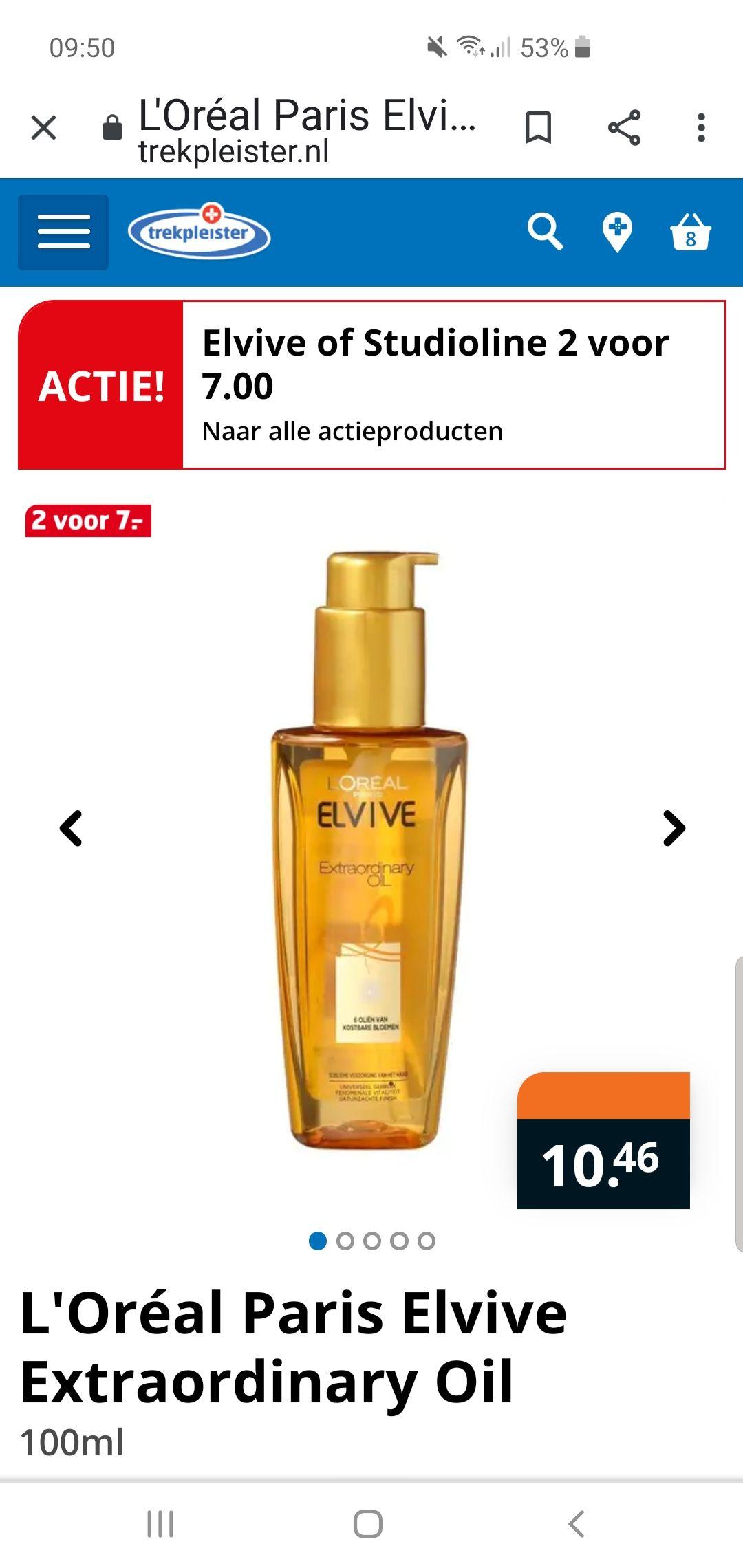 Elvive of Studioline 2 voor €7,-