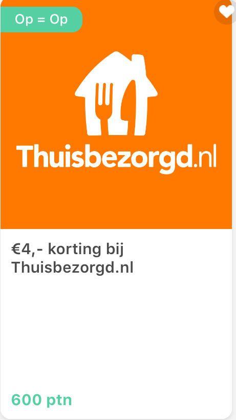 € 4,- korting bij Thuisbezorgd.nl tegen inlevering van 600 punten bij Tessa
