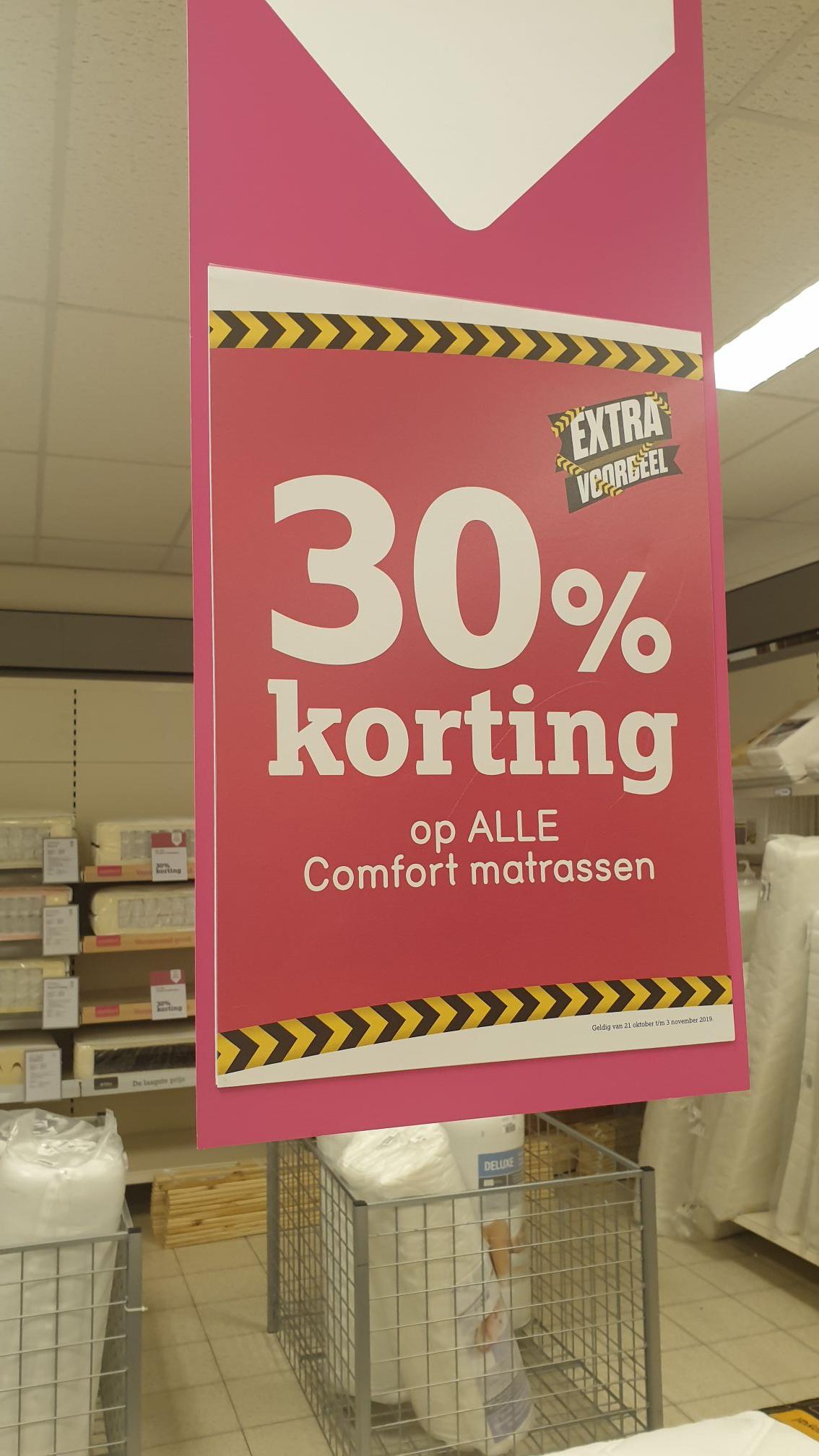 30% korting op Comfort matrassen bij Leenbakker