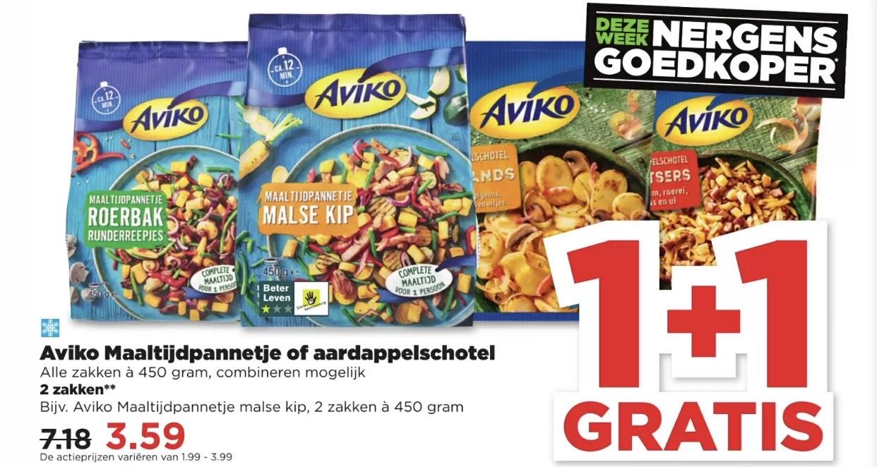 Tip voor de HONGERIGE JAGERS: Aviko Maaltijdpannetje of Aardappelschotel 1+1 GRATIS vanaf €1,99 voor 2 stuks @ PLUS