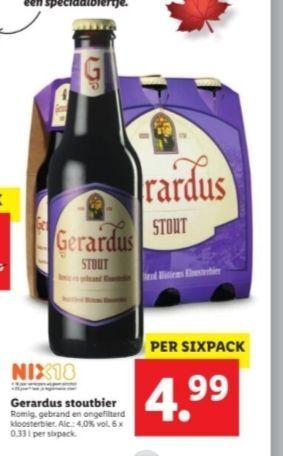Gerardus Stout sixpack voor €4,99 bij Lidl