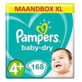 Pampers Baby Dry Maat 4+ - 168 Luiers Maandbox XL