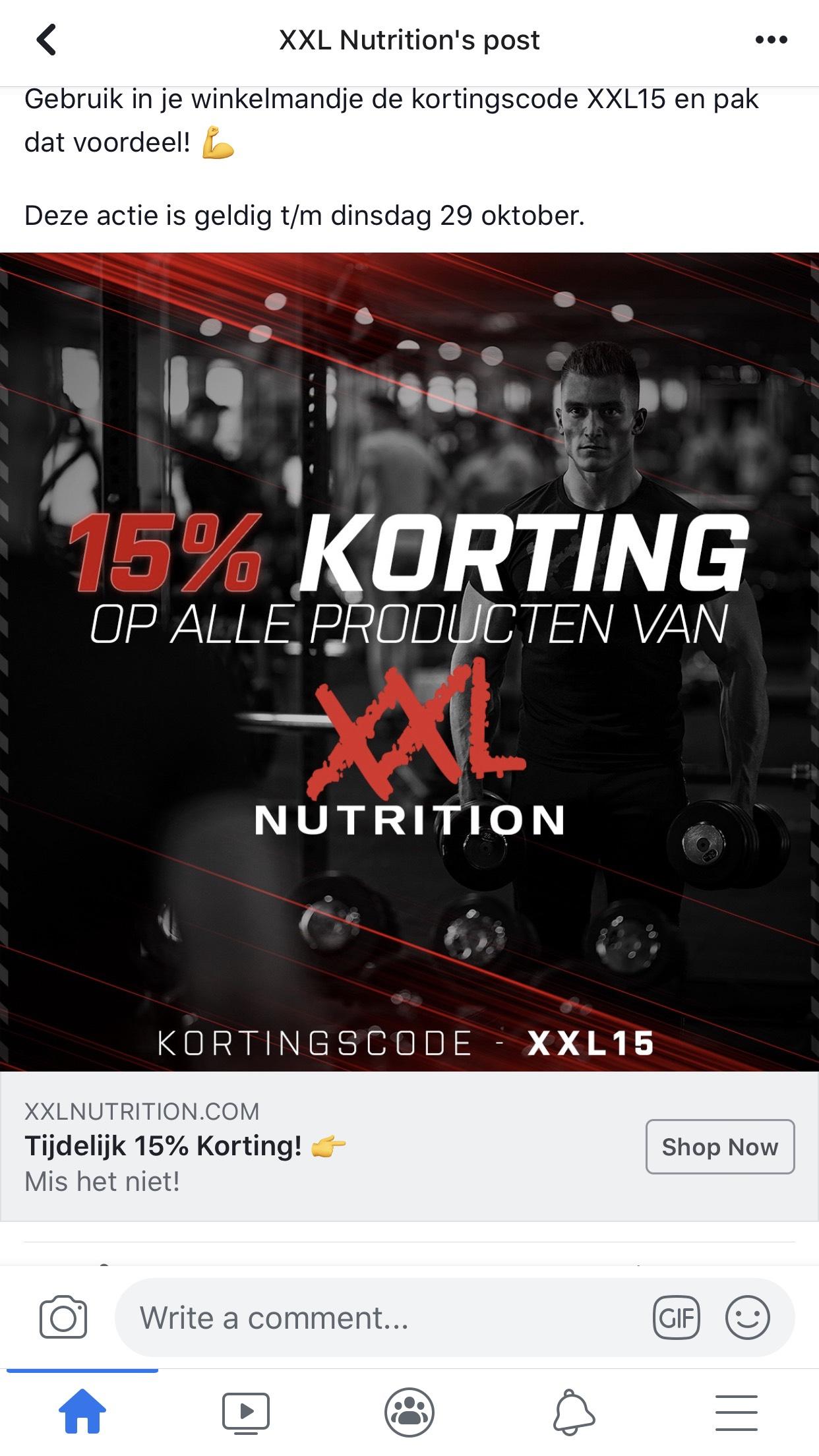 15% korting op XXL nutrition producten