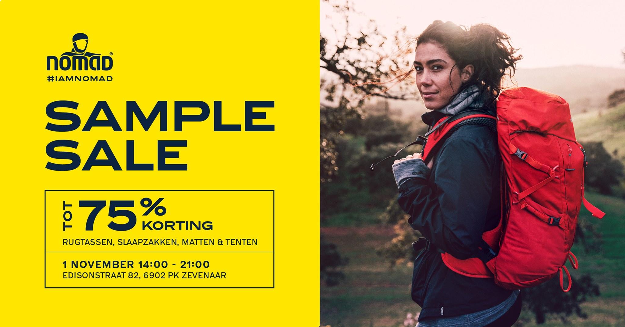 Nomad Sample Sale, vrijdag 1 november, tot 75% korting, Zevenaar
