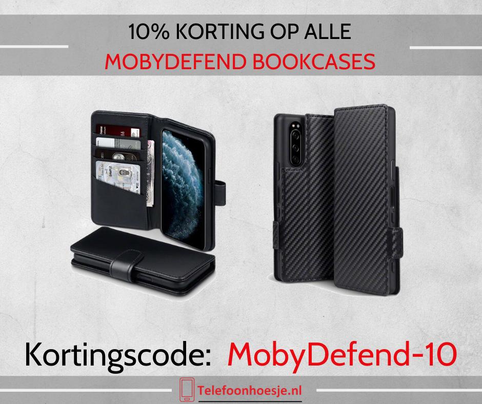 10% korting op alle MobyDefend bookcase telefoonhoesjes