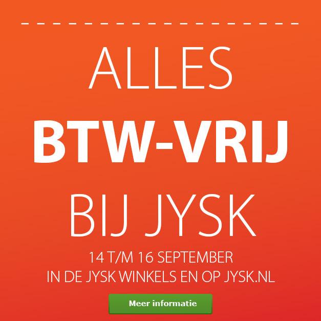 BTW-vrij shoppen + €5 nieuwsbriefkorting @ JYSK