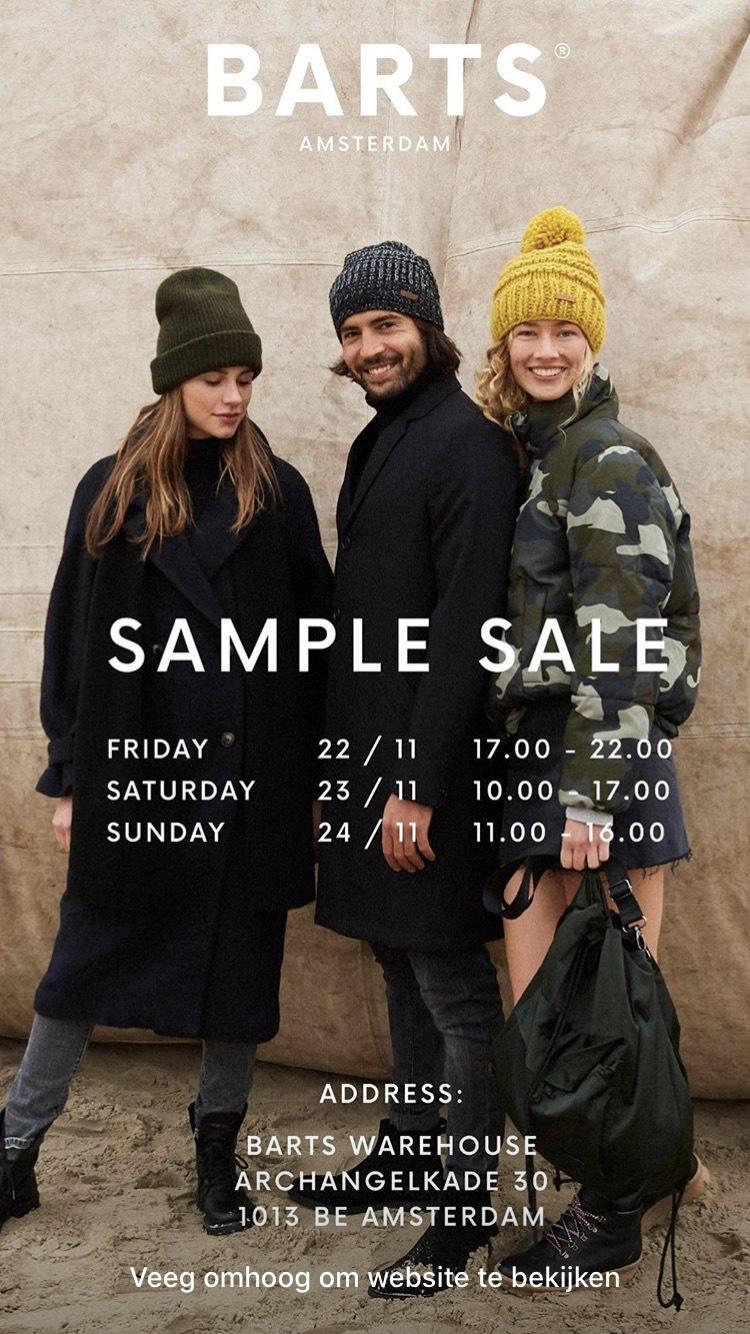 SAMPLE SALE Barts Amsterdam 22/23/24nov