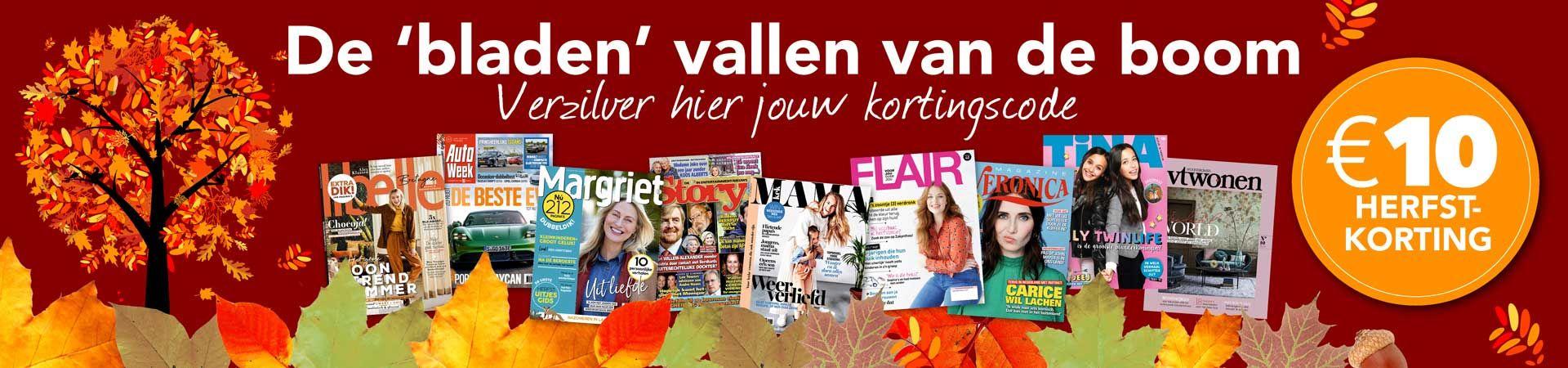 €10 herfstkorting op een tijdschriftabonnement bij Magazine.nl