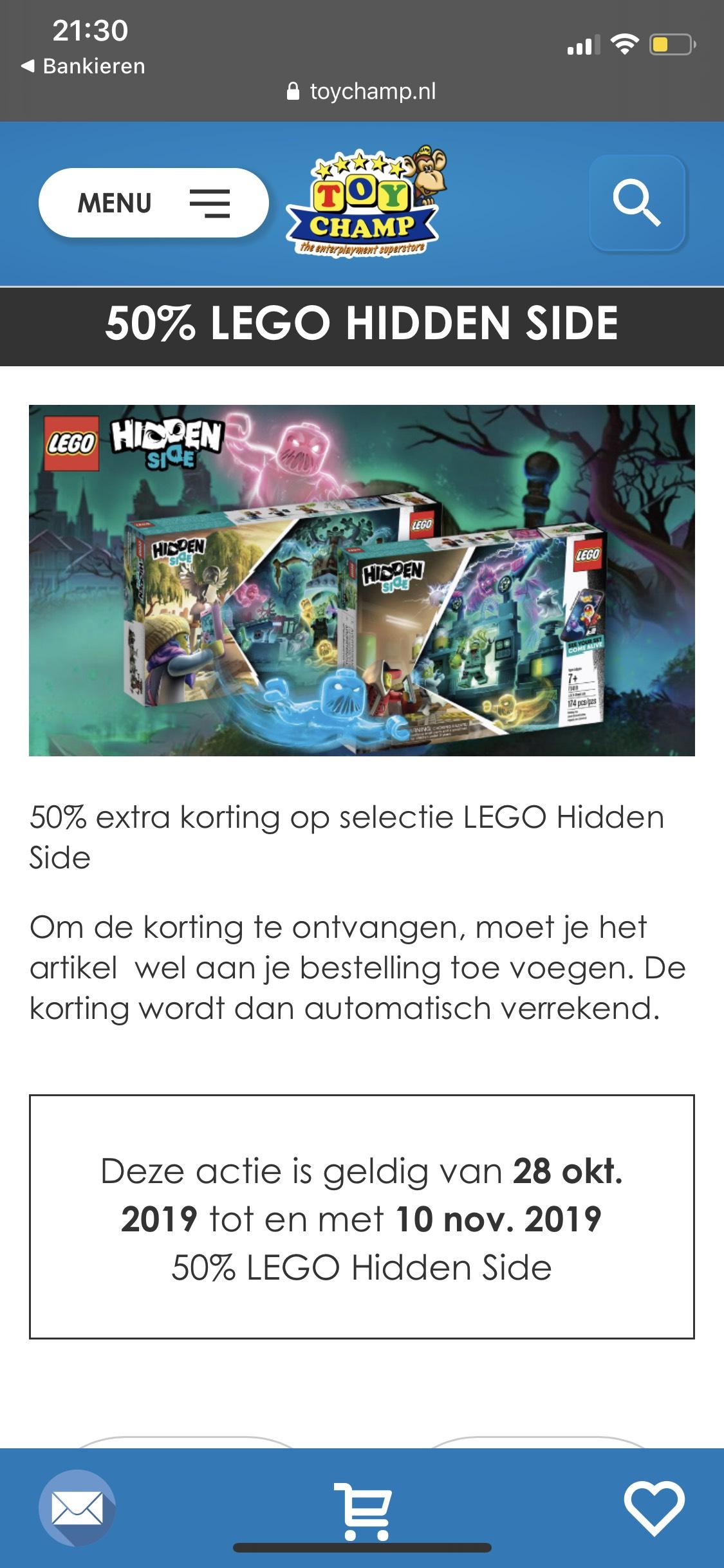 Toychamp 50% korting op LEGO hidden side