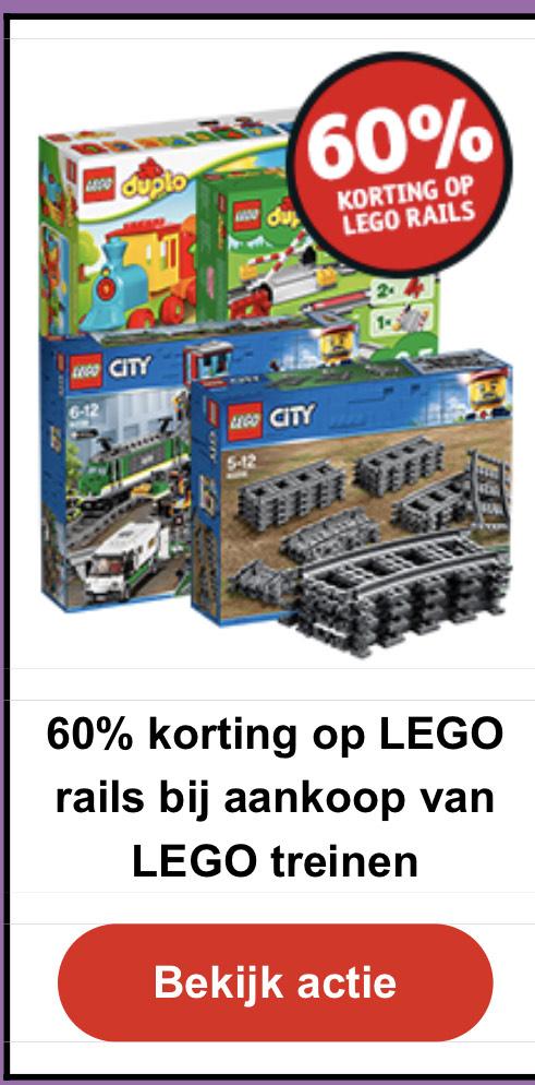 60% korting op LEGO rails @kruidvat
