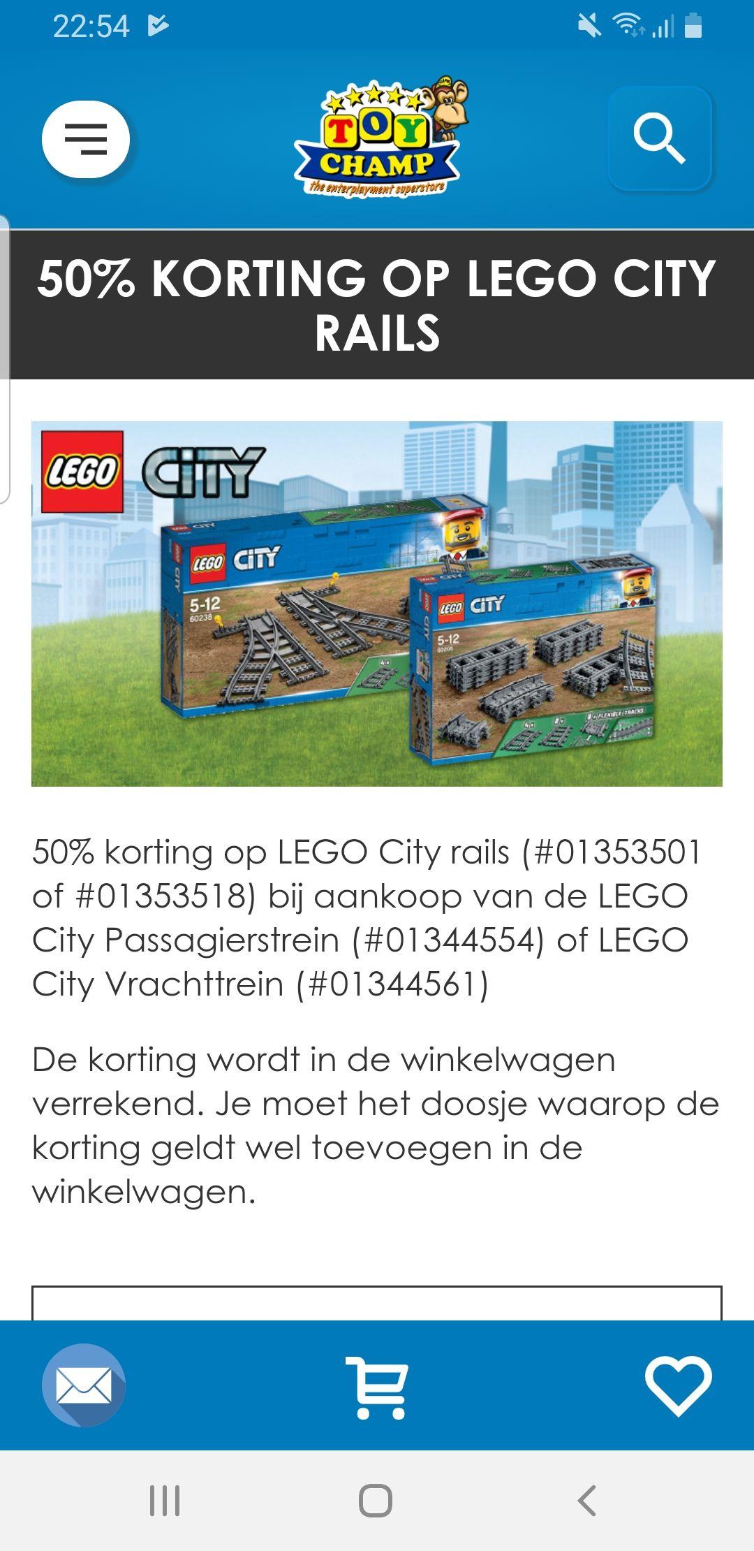 Bij aankoop van lego city trein of vrachtrein 50% korting op rails