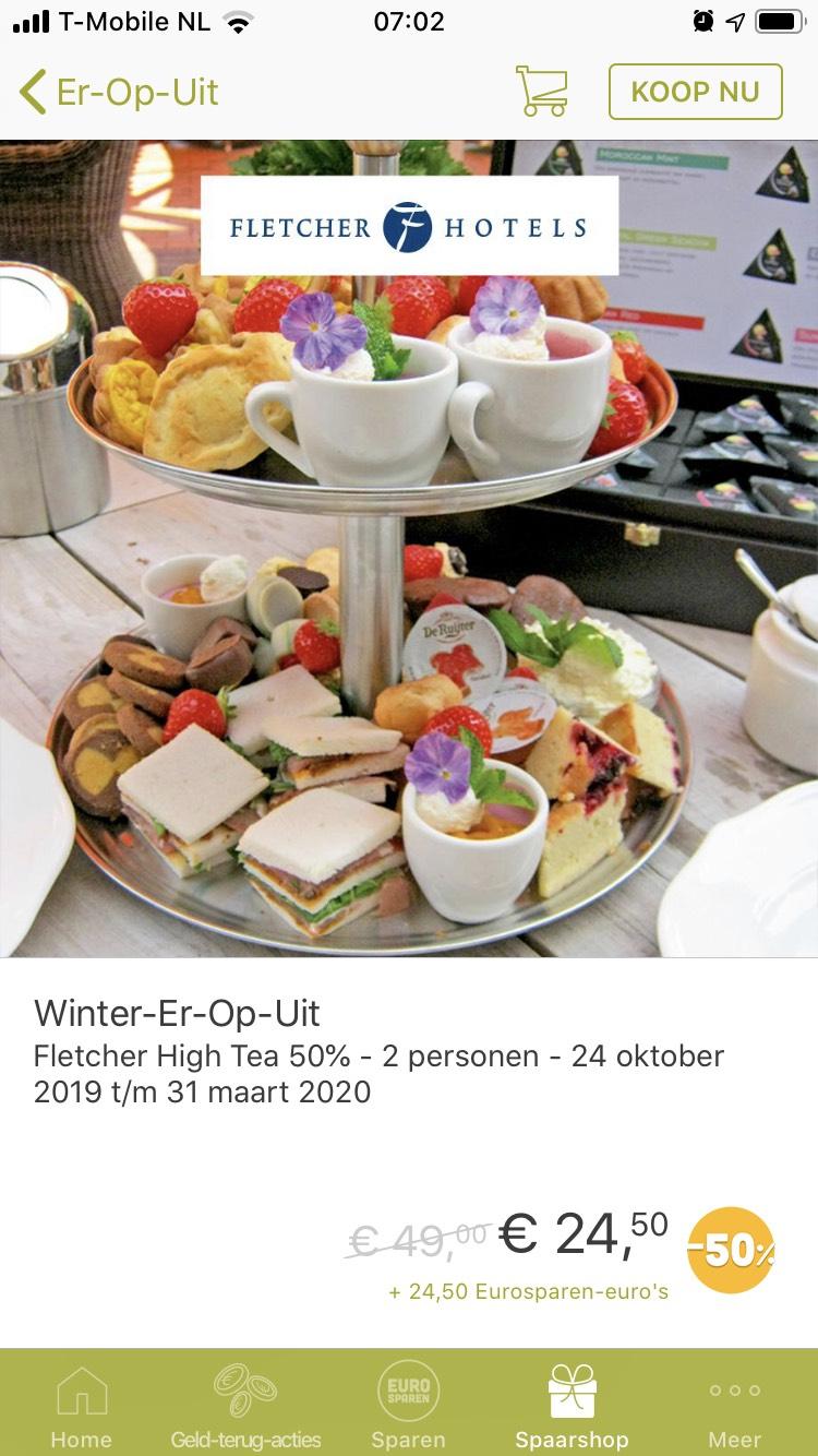 50% korting op een high tea bij Fletcher @Eurosparen