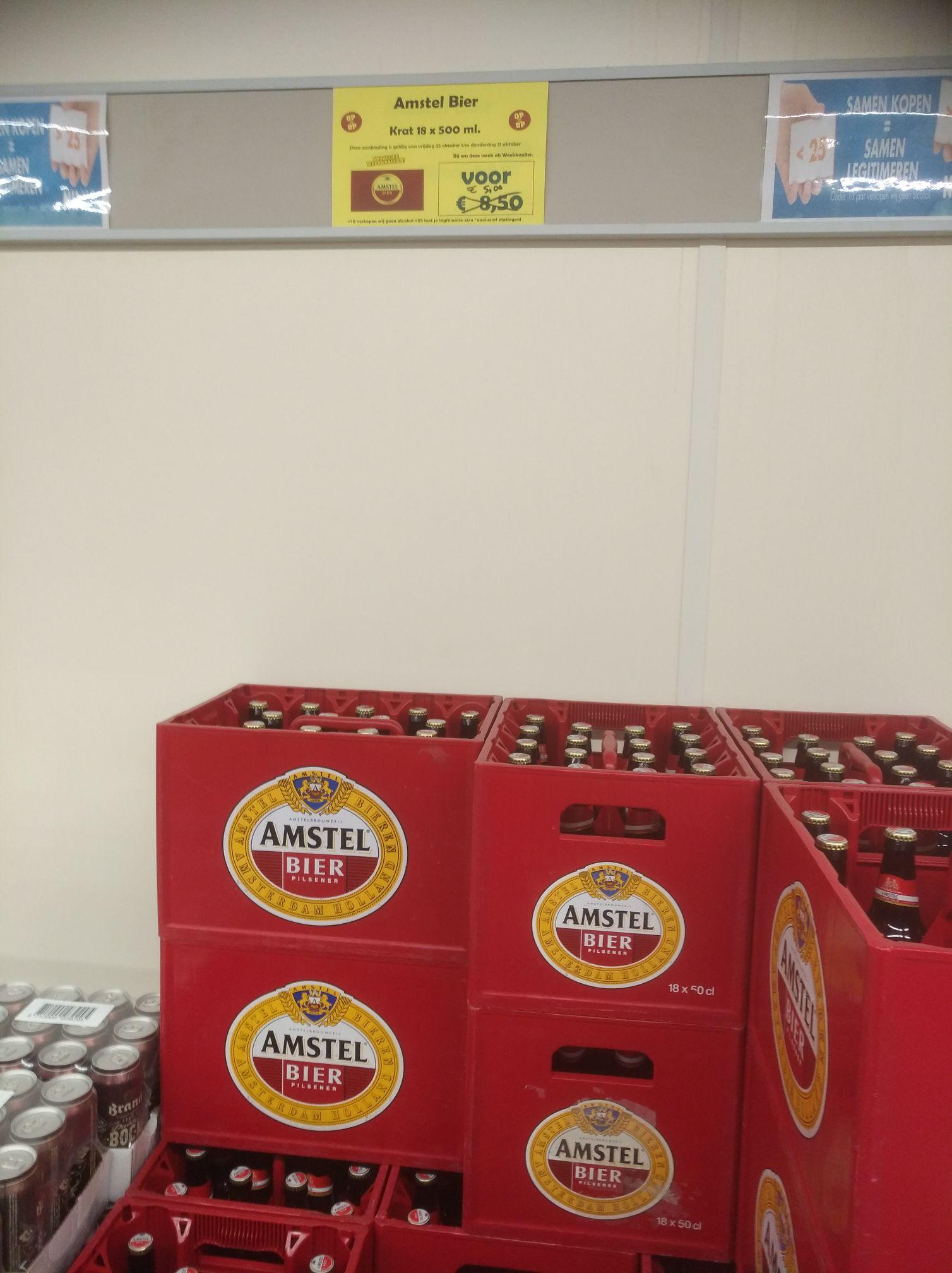 Kratje Amstel €5 bij Budgetfood