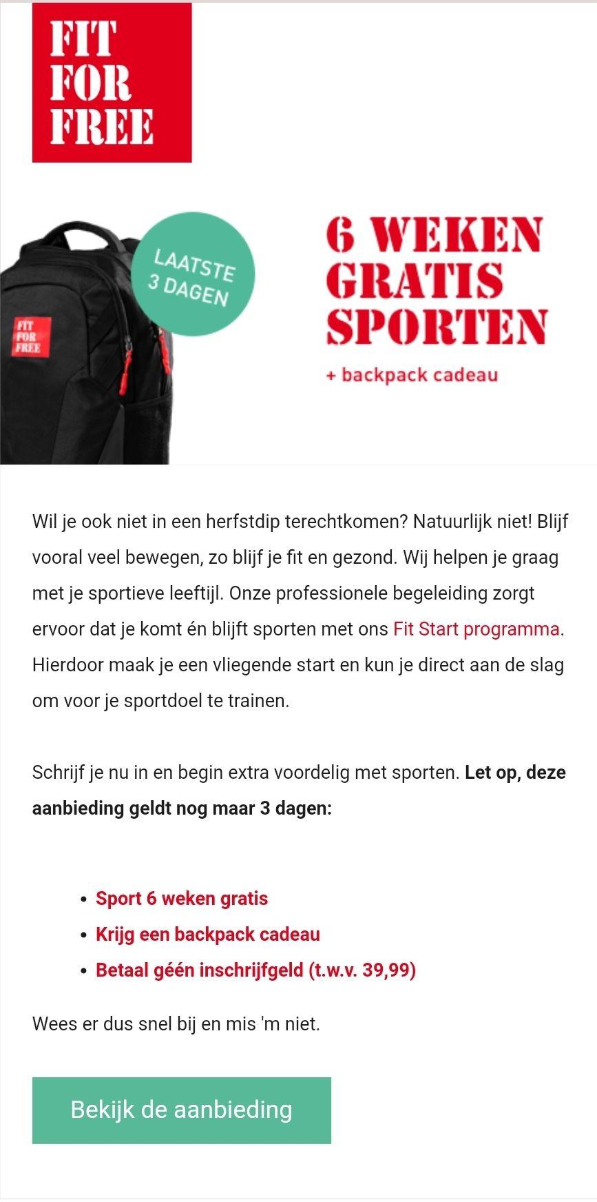 6 weken gratis sporten + backpack cadeau + geen inschrijfgeld @ Fit4Free
